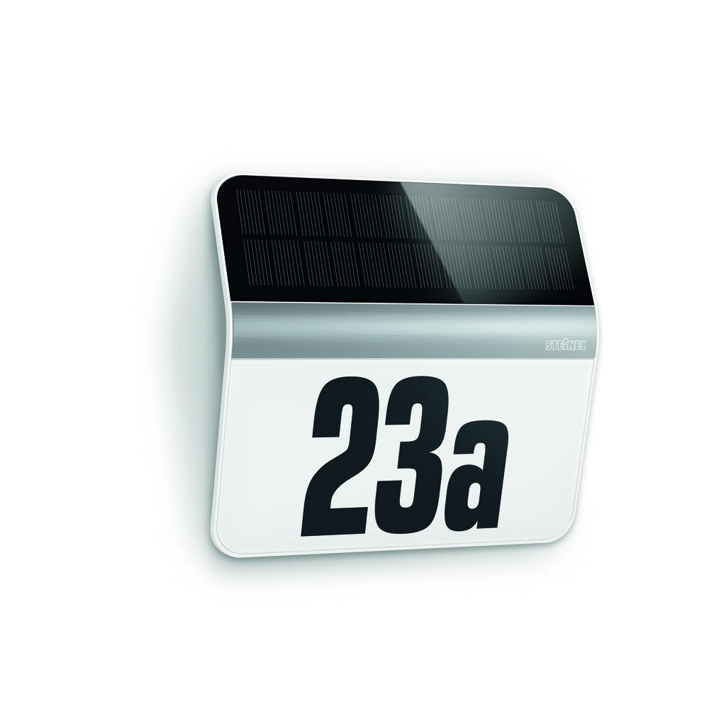 Steinel LED Hausnummernleuchte AUSSENLEUCHTE XSOLAR LH-N EDELSTAHL, Schwarz,weiß, Glas, Bewegungsmelder, 007140