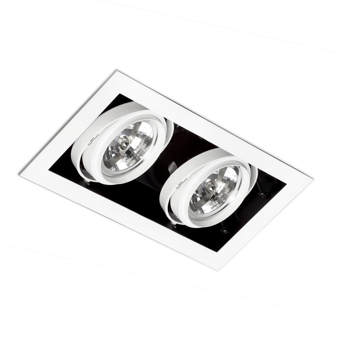 Faro Einbaustrahler Gingko Orient 2L Qr-111 100W Schwarz, Weiß, Stahl, 03030202 | Lampen > Strahler und Systeme > Einbaustrahler | Schwarz - Weiß | Stahl