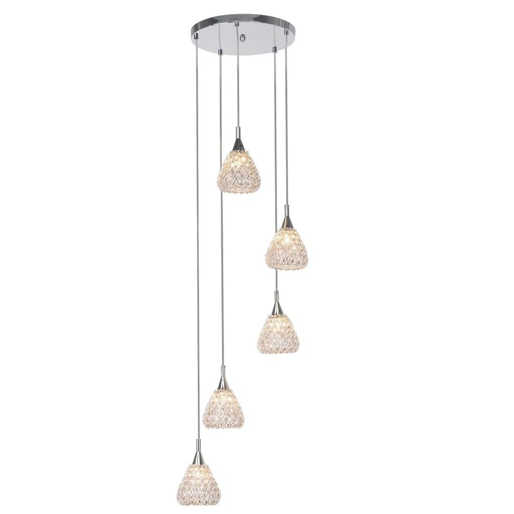 Brilliant Pendelleuchte Vegas G9 W/o Bulb PE 5, Kunststoff/Metall, 17675/79