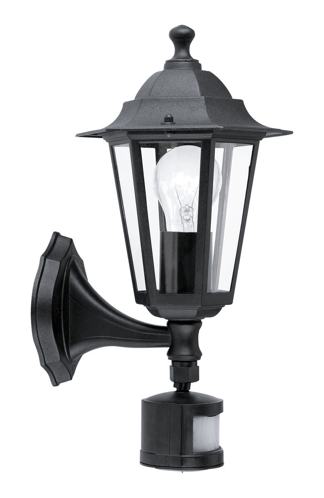 EGLO Laterne Laterna 4, Schwarz/Transparent, Aluminium/Glas, Bewegungsmelder, 22469