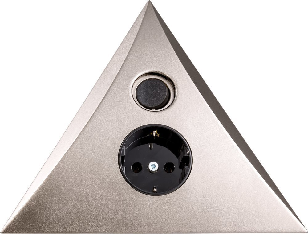 Heitronic Steckdose Steckdosen-Dreieck Luxor Mit Ein/Ausschalter, Metallisch, Kunststoff, 23703