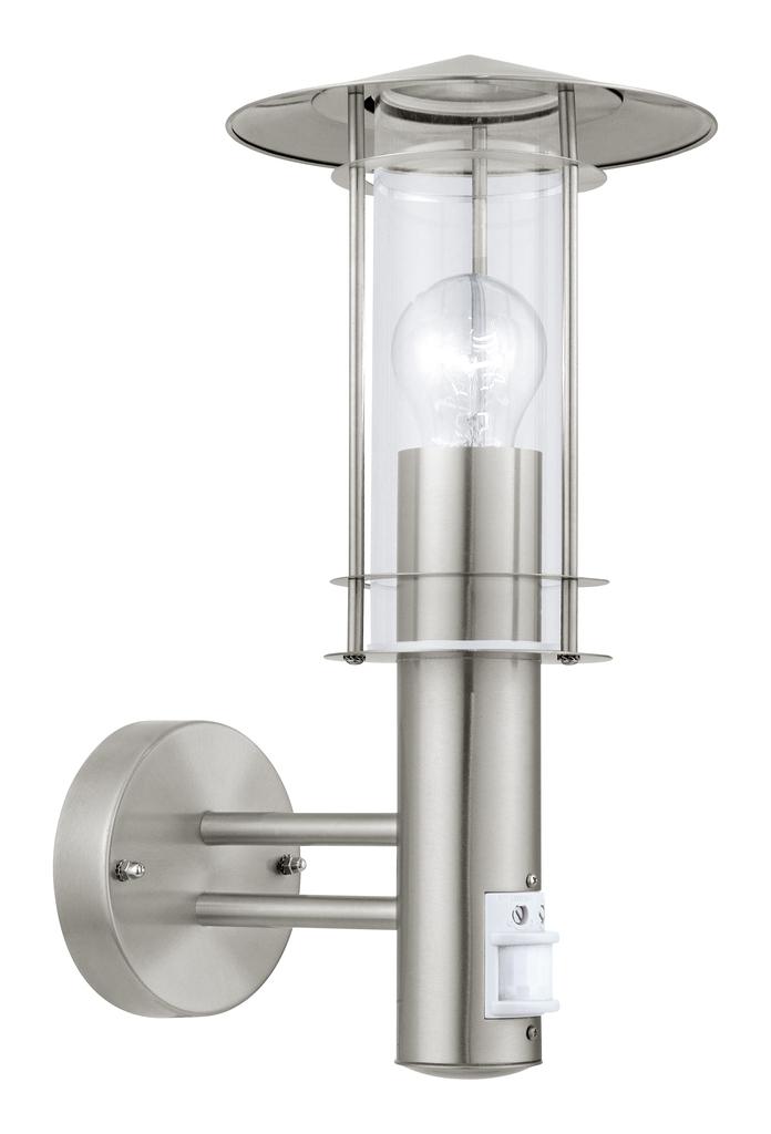 EGLO Laterne Lisio, Metallisch/Transparent, Edelstahl, Bewegungsmelder, 30185