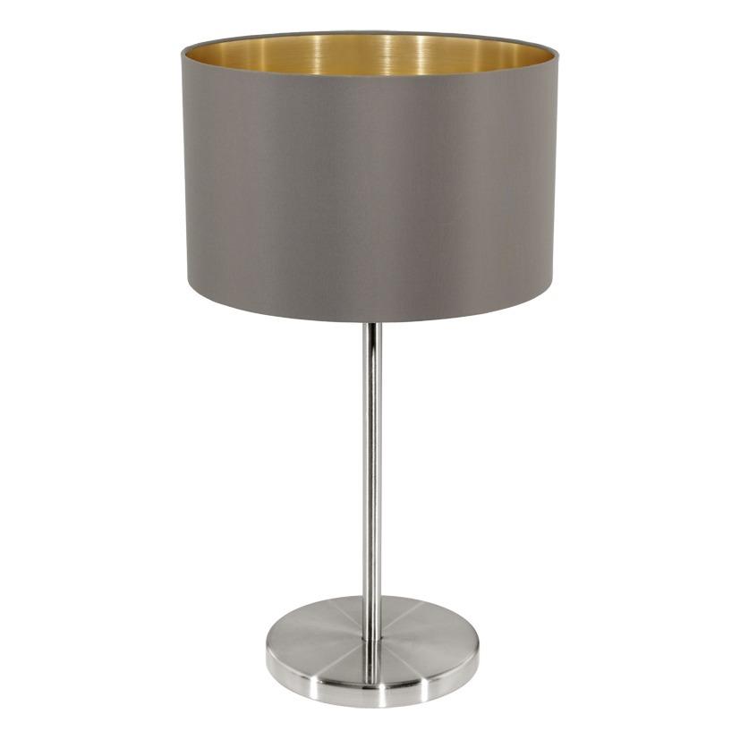 EGLO Tischleuchte Maserlo, Braun,gold,grau, Metall/Stahl/Stoff, 31631