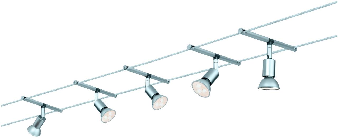 Paulmann LED Seilsystem Set Spice SaltLED, Metallisch, Metall, 941.24 | Lampen > Strahler und Systeme > Seilsysteme | Metallisch | Metall