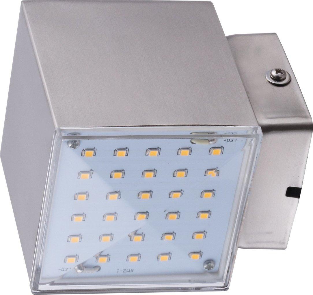 Heitronic LED Downlight LED WANDLEUCHTE KUBUS 2 7W 1-FLAMMIG, Metallisch, Edelstahl/Kunststoff, 35272