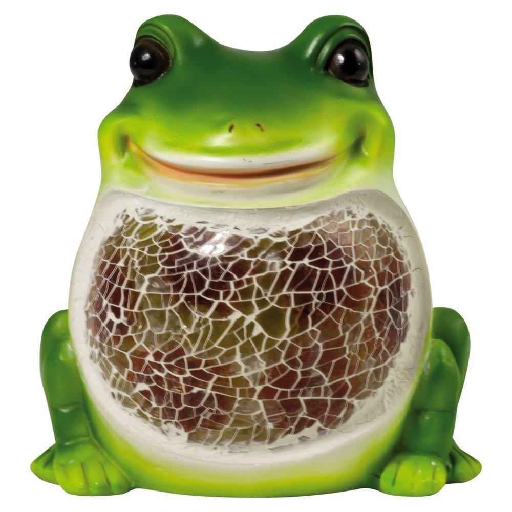 Heitronic LED Solar Dekoleuchte Frosch, Glas/Kunststoff, Bewegungsmelder, 36088