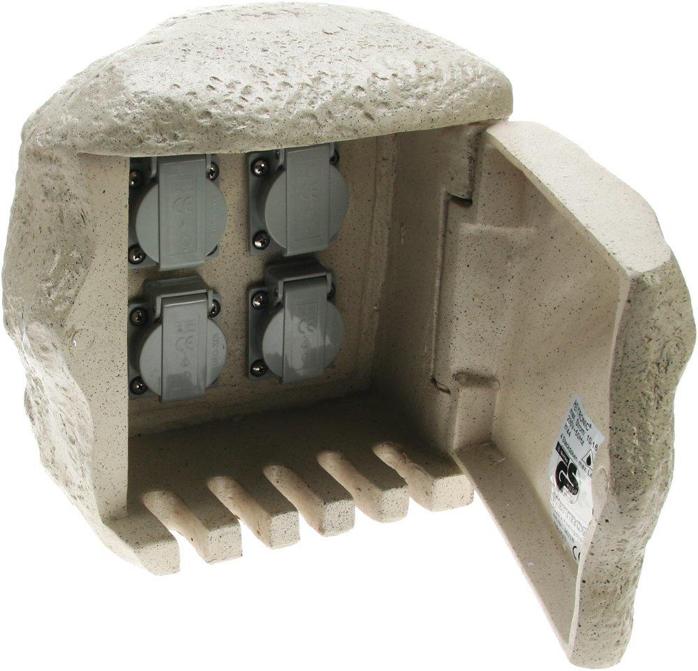 Heitronic Außenleuchte 4fach Steinsteckdose Mit Anschluss Für Erdkabel, Grau, Kunststoff, 36314