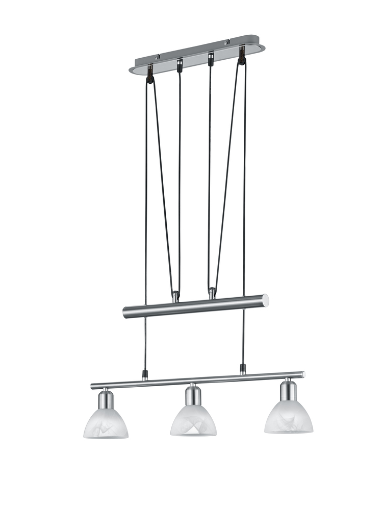 Trio LED Höhenverstellbare Pendelleuchte Levisto, Metallisch,weiß, Glas/Metall, 371010307
