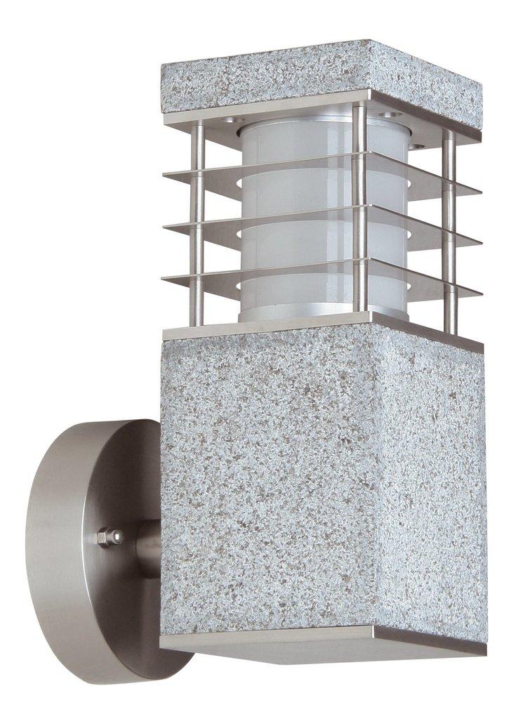 Heitronic LED Wandfackel WANDLEUCHTE LA MER, Grau/metallisch, Edelstahl/Granit, 37281 | Lampen > Aussenlampen > Wandleuchten