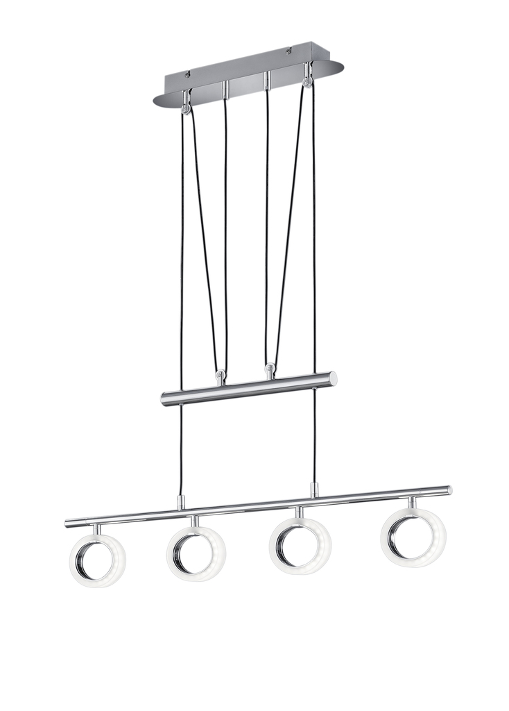 Trio LED Höhenverstellbare Pendelleuchte Corland II, Chrom,weiß, Kunststoff/Metall, 374210406