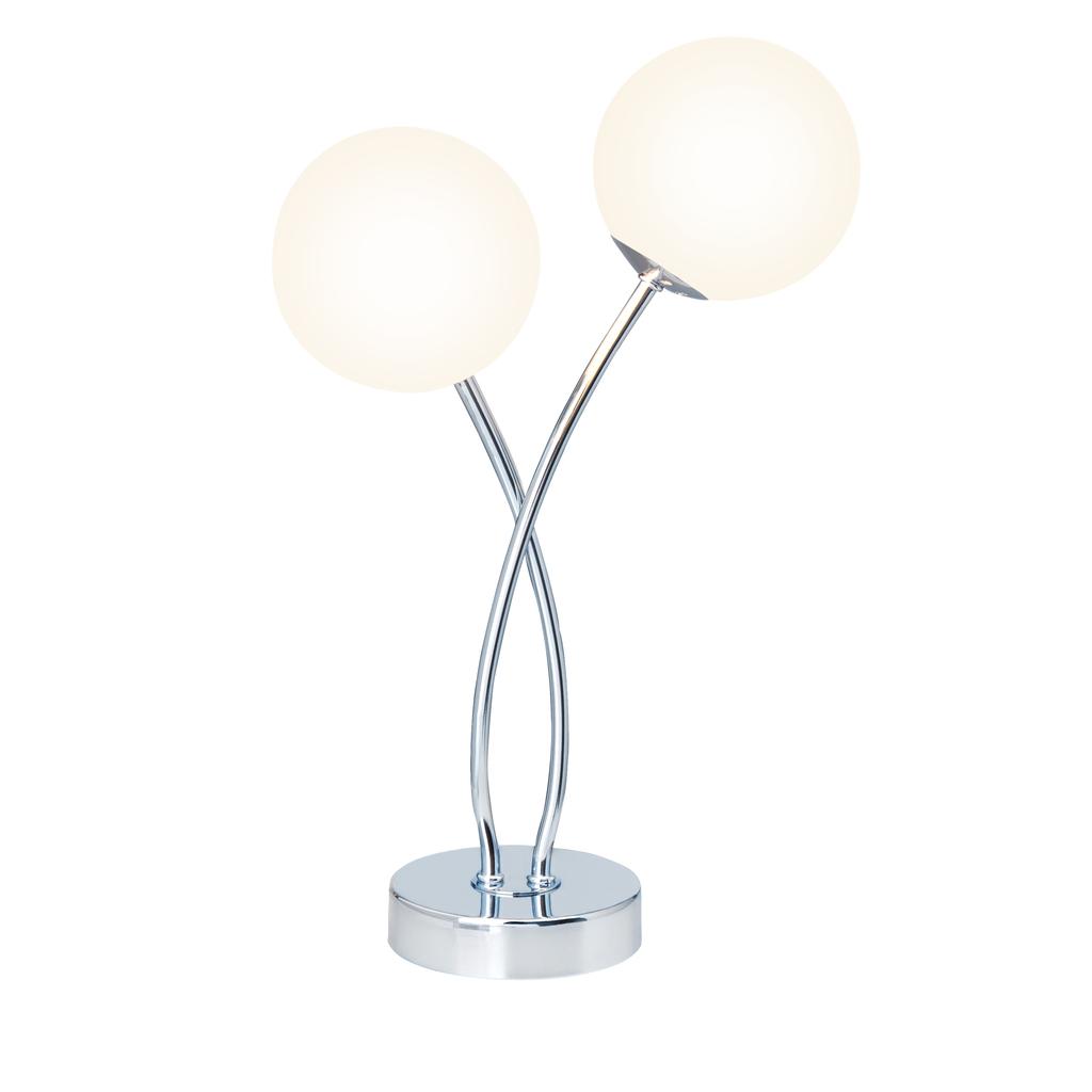 Brilliant Tischleuchte Mirella LED 3W TL 2, Chrom,weiß, Glas/Metall, G39642/75