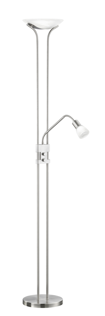 Trio LED Deckenfluter Santo II, Metallisch/weiß, Glas/Kunststoff/Metall, 421910207 | Lampen > Stehlampen > Deckenfluter