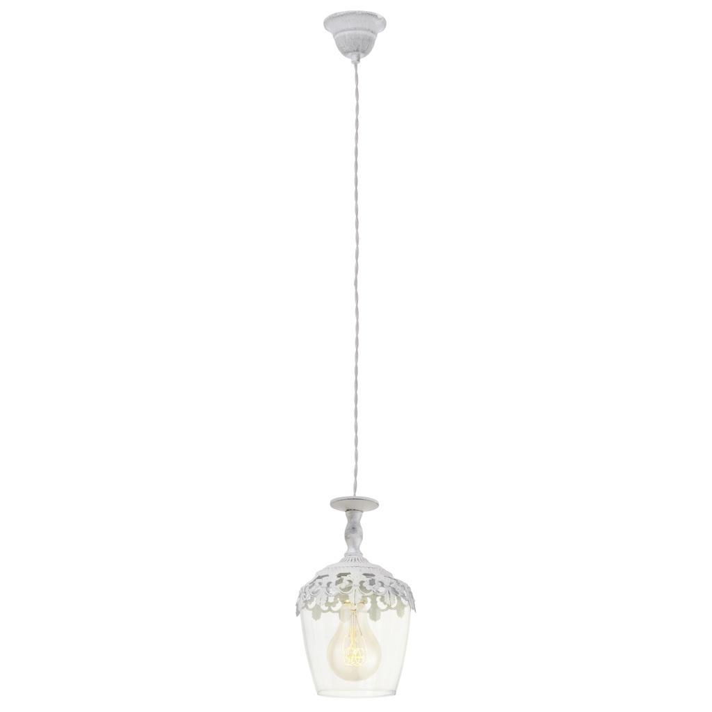 EGLO Pendelleuchte Sudbury, Transparent,weiß, Glas/Metall, 49221