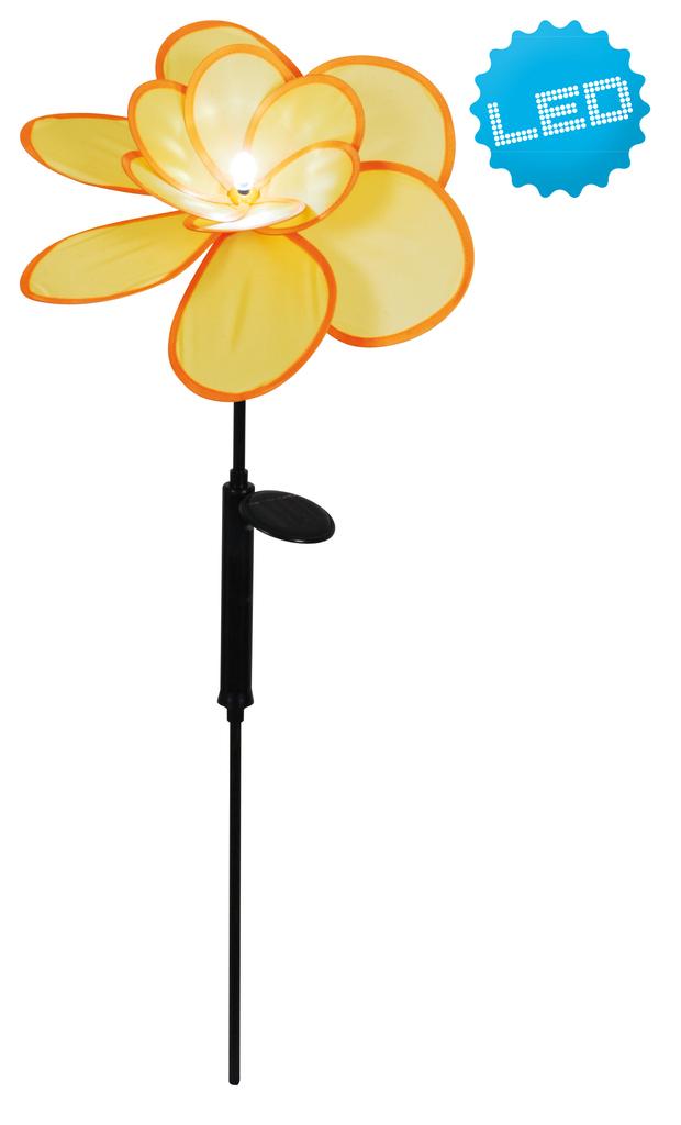 Näve LED Erdspieß Außen-Erdspieß Windrad, Gelb/schwarz, 5064815 | Garten > Dekoration > Windräder