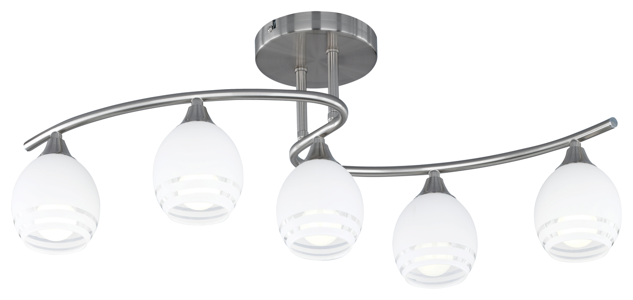 Trio Deckenbogen Horbo, Metallisch,weiß, Metall/Glas, 605600507