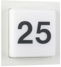 Albert Hausnummernleuchte Roosty Eckig, Weiß, Aluminium/Glas/Opalglas, 686219   Lampen > Aussenlampen > Hausnummern