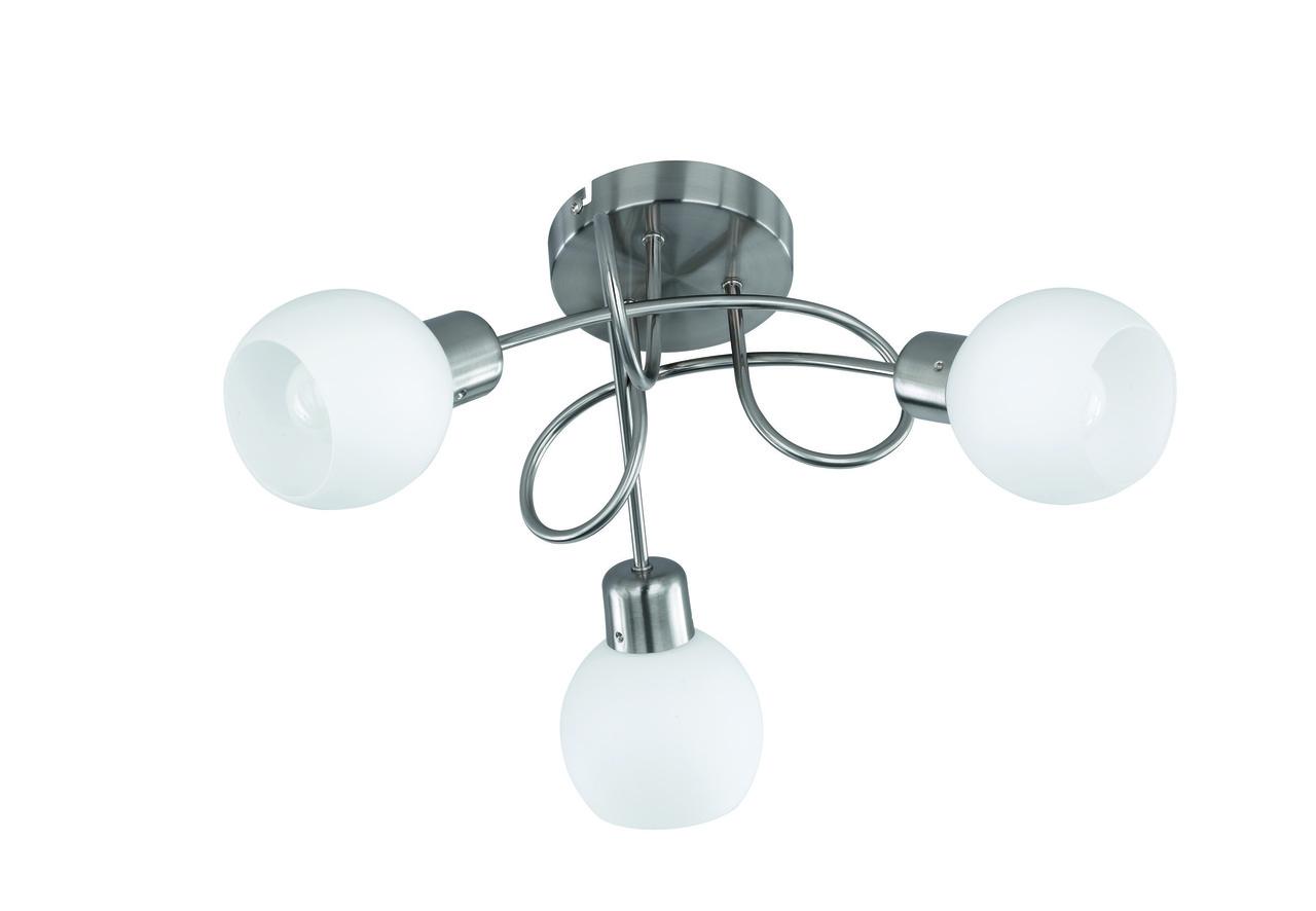Trio LED Deckenspirale Nickel Matt, Metallisch,transparent, Glas/Metall, 624830307