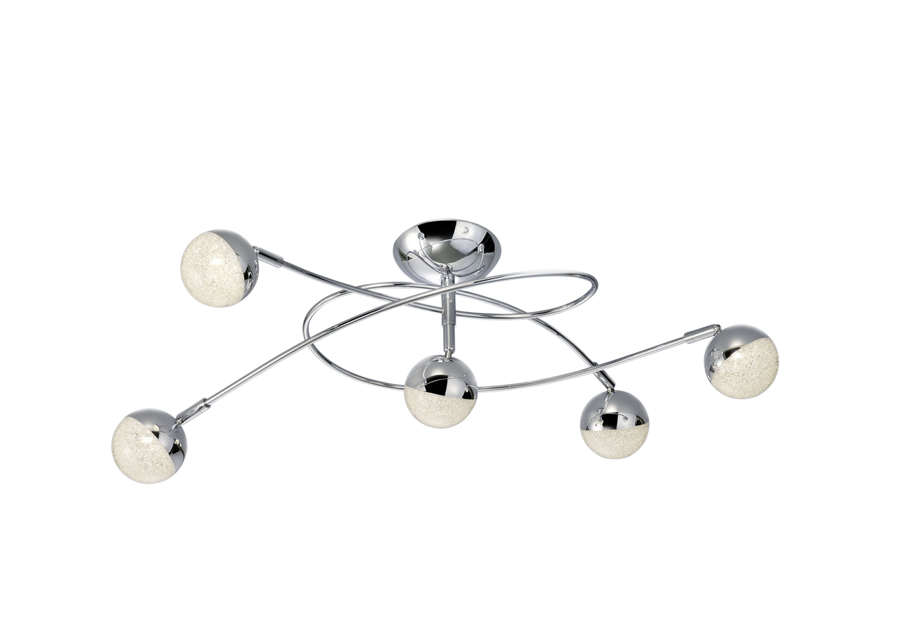 Trio LED Deckenleuchte Chris, Chrom, Metall, 678310506