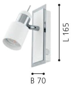 EGLO LED Wandstrahler Davida, Chrom,weiß, Metall, 92084