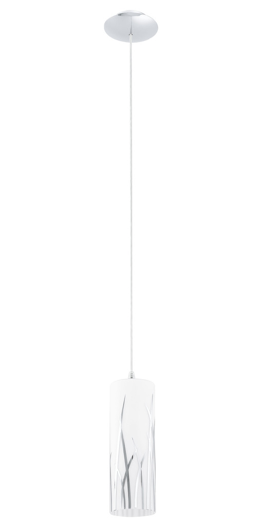 EGLO Pendelleuchte Rivato, Chrom,grau,metallisch,weiß, Glas/Metall, 92739