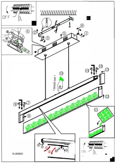 EGLO LED Höhenverstellbare Pendelleuchte Cardito 1, Chrom,transparent, Aluminium/Glas/Metall, 93626