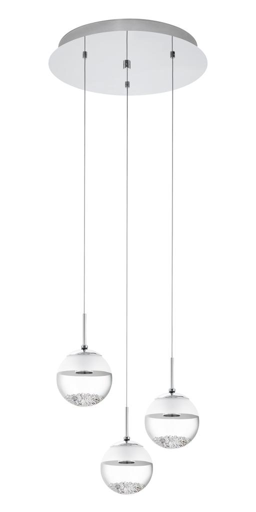 EGLO LED Deckenleuchte Montefio, Chrom,metallisch,transparent,weiß, Glas/Metall/Stahl, 93709