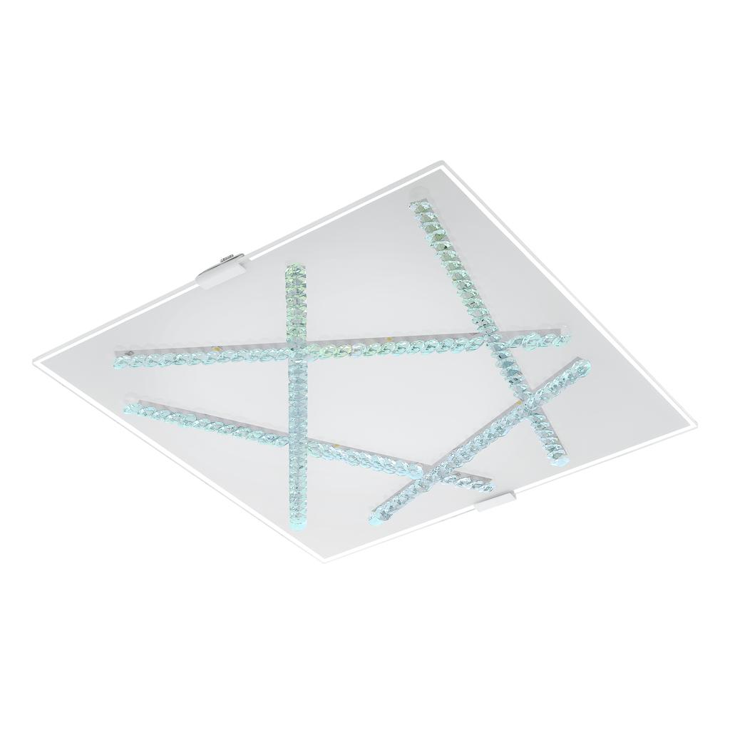 EGLO LED Deckenleuchte Sorrenta, Transparent,weiß, Glas/Metall/Stahl, 93765