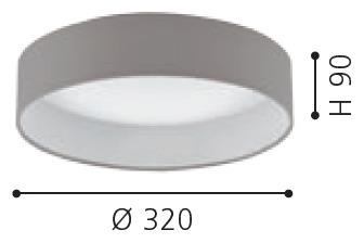 EGLO LED Deckenleuchte Palomaro, Braun,grau,weiß, Kunststoff/Stoff, 93949