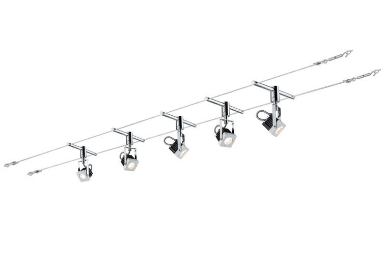 Paulmann LED Seilsystem Set Mezzo, Weiß, Metall, 940.82   Lampen > Strahler und Systeme > Seilsysteme   Weiß   Metall