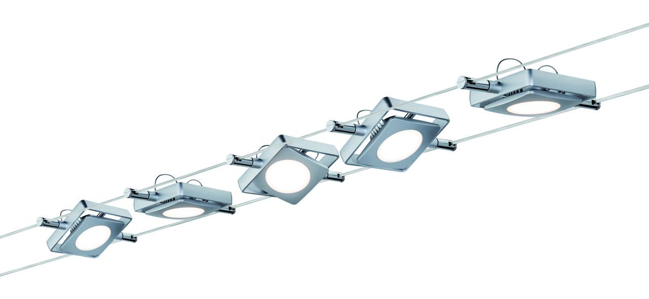 Paulmann LED Seilsystem Set MacLED 5x4W Chrom Matt, Metallisch, Kunststoff/Metall, 941.08 | Lampen > Strahler und Systeme > Seilsysteme | Chrom - Matt - Metallisch