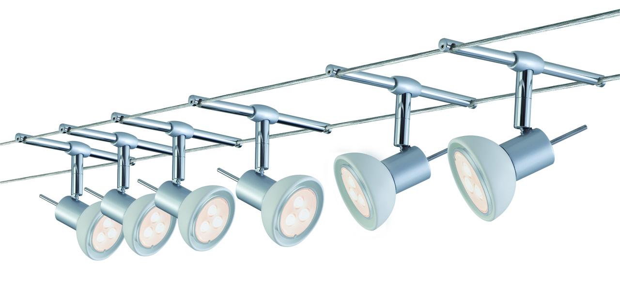 Paulmann LED Seilsystem Set SheelaLED, Metallisch, Glas/Metall, 941.23 | Lampen > Strahler und Systeme > Seilsysteme
