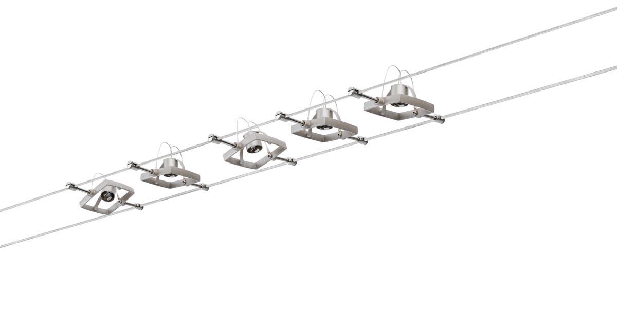 Paulmann Seilsystem WireSystem Set MacII, Metallisch, Nickel, 941.35   Lampen > Strahler und Systeme > Seilsysteme   Metallisch