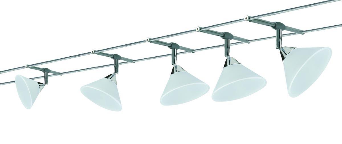 Paulmann Seilsystem WireSystem Colmar, Chrom, Glas/Metall, 941.43   Lampen > Strahler und Systeme > Seilsysteme   Chrom
