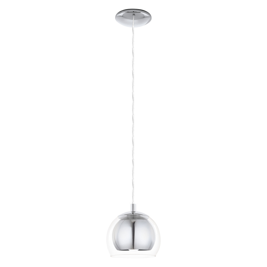 EGLO Pendelleuchte Rocamar, Chrom,transparent, Glas/Metall, 94592