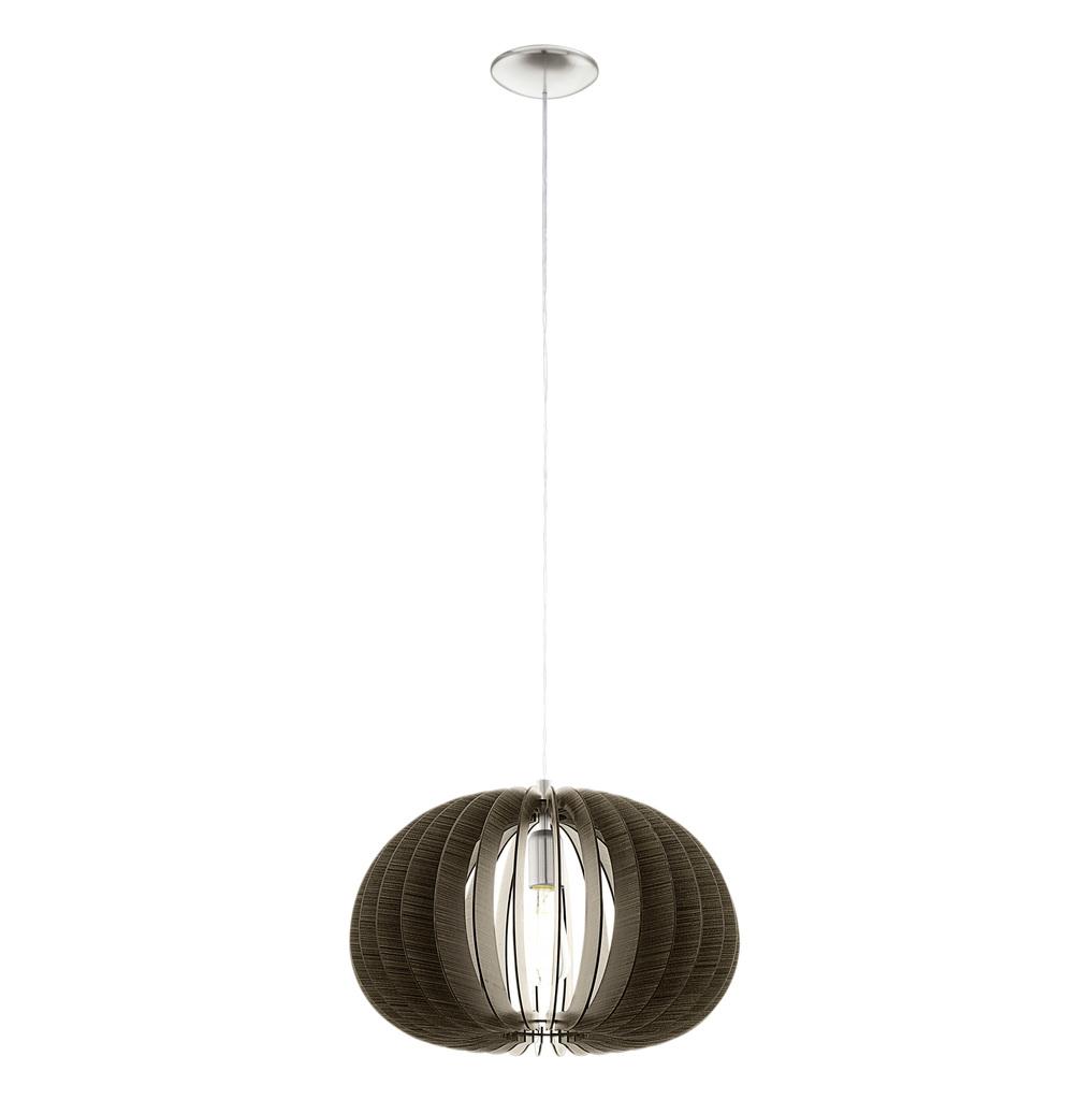 EGLO Pendelleuchte Cossano, Braun,metallisch, Holz/Nickel, 94638