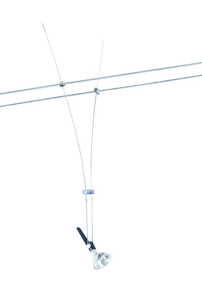 Paulmann Seilsystem Wire System Light&Easy Spot Lichtstab Max1x50W GU5.3 Chrom 12V Metall, Chrom, Metall, 971229   Lampen > Strahler und Systeme > Seilsysteme   Chrom   Metall