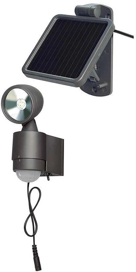 Brennenstuhl Solarstrahler Solar LED-Spot SOL 1x4 IP44 Mit Infrarot-Bewegungsmelder 4xLED 0, Anthrazit, Aluminium, 1170960