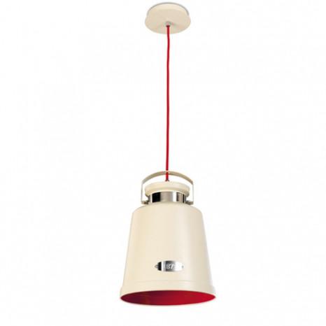 Vintage Höhe 37 cm Beige-rot 1-flammig zylinderförmig