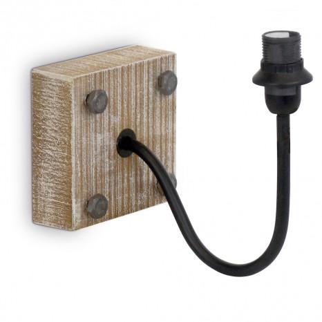EGLO 1+1 Vintage, Holzgestell, Stahlarm, schwarz