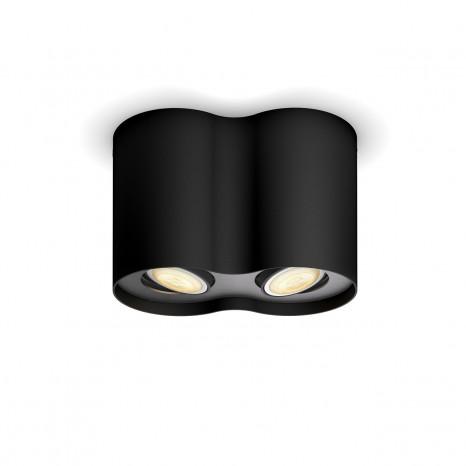 White Amb. Pillar schwarz 2 flg. 2 x 350lm Dimmschalter rund