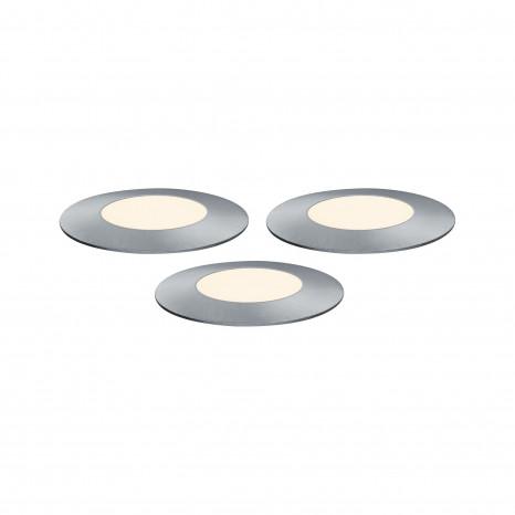 Plug & Shine Floor Mini Set Ø 5,5 cm silber 3er-Set 3000K