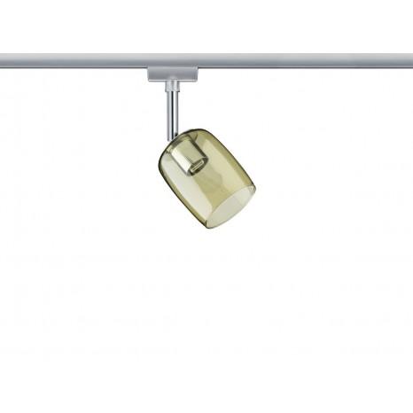 URail System Spot Blossom, max 1x10W G9 Chrom matt/Gelb transp 230V Metall/Glas