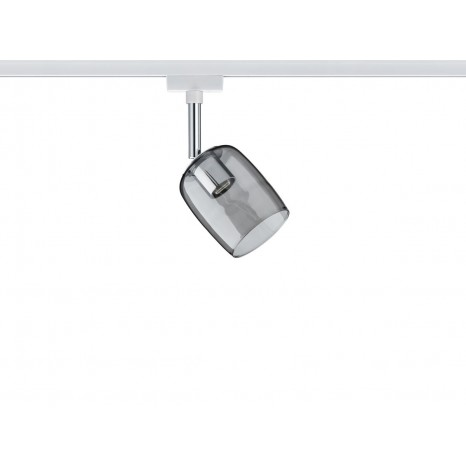 URail System Spot Blossom, max 1x10W G9 Weiß/Grau transparent 230V Metall/Glas