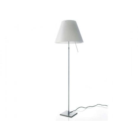 Costanza Floor Alu (Komplett), Höhe 120-160 cm, Sensordimmer, Schirm Weiß