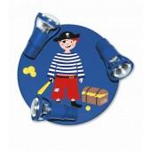Pirat Round mit Truhe dunkelblau
