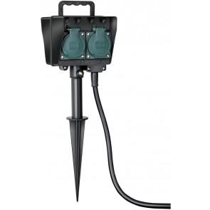 Gartensteckdose mit Erdspieß IP44 4-fach 1,4m H07RN-F 3G1,5