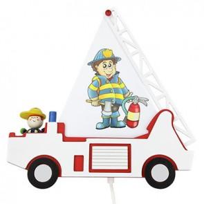 Wandleuchte Feuerwehrauto Fred, rot/weiß
