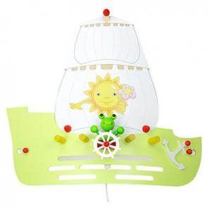 Elobra Wandleuchte Segelschiff mit Frosch, lindgrün