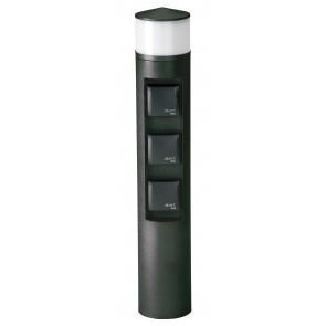 Steckdosenlichtsäule Nr. 2202 Farbe: schwarz, mit 3 x Steckdose, mit 1 x LED 10 W, 3000K