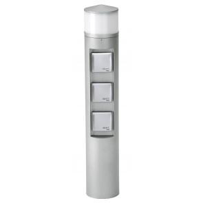 Steckdosenlichtsäule Nr. 2202 Farbe: silber, mit 3 x Steckdose, mit 1 x LED 10 W, 3000K